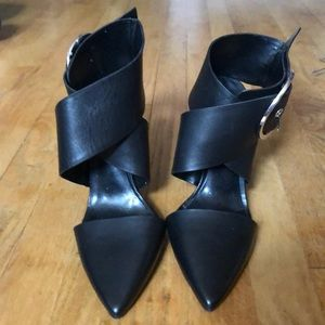 Zara pointed toe wrap around the ankle heels